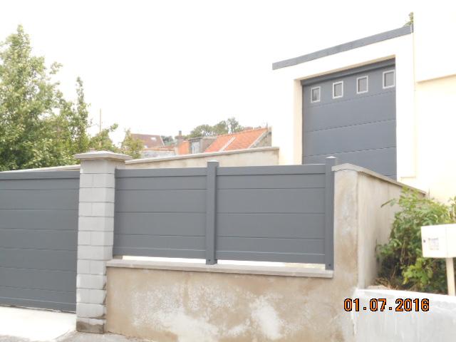 Pose cloture portail et porte de garage en aluminium fermetures louasse - Portail de garage a enroulement ...