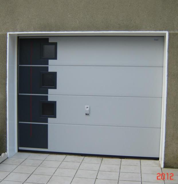 Porte de garage sectionnelle harol panneau coloris hublots